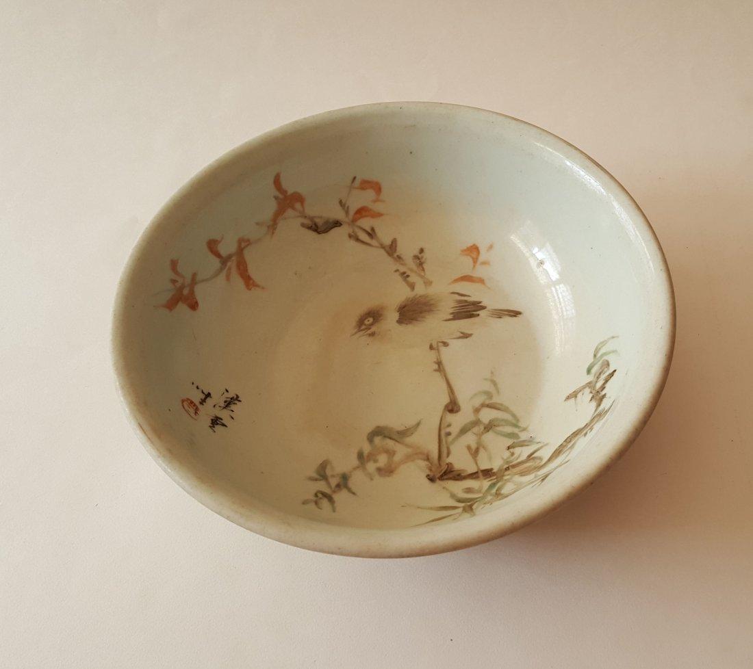 Large Antique Chinese Qiangjiangcai Porcelain Bowl