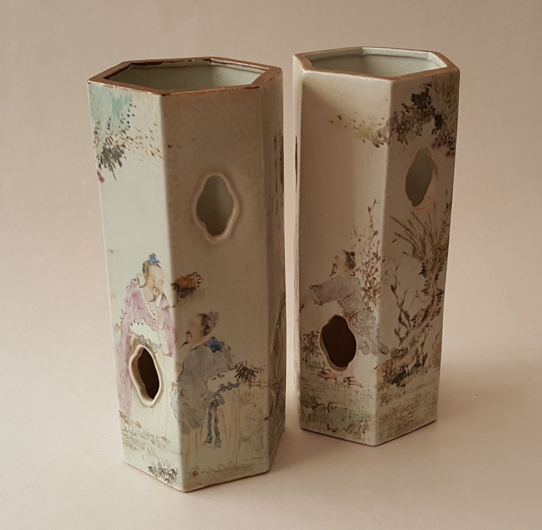 Pair Antique Chinese Qiang Jiang Porcelain Vases