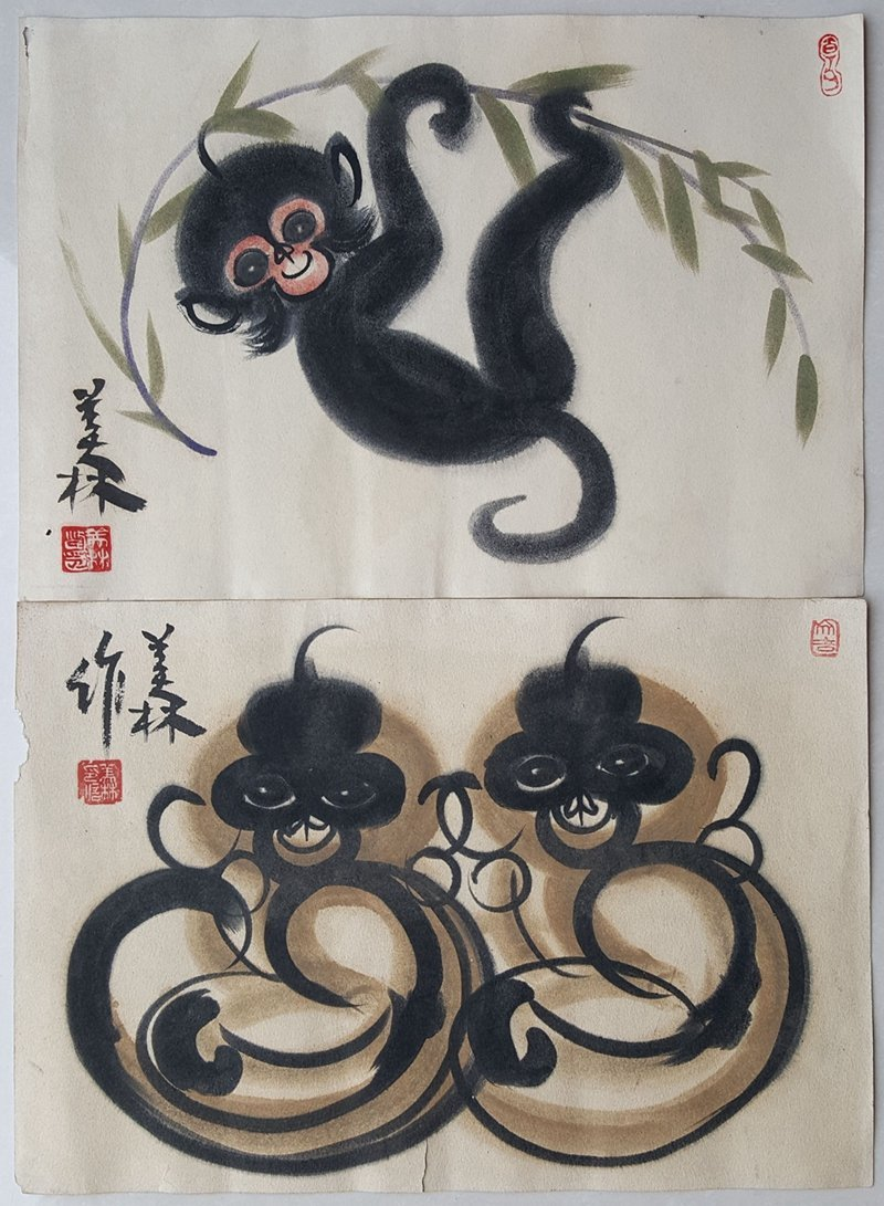Two Chinese Paintings,Han Meilin(1936-)