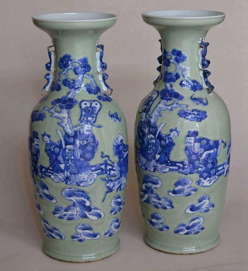 Pair Large Antique Chinese Porcelain Vases