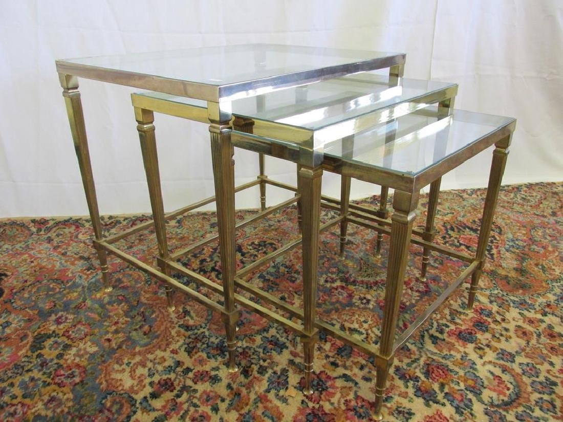 VINTAGE FRENCH SOLID BRASS NESTING TABLES