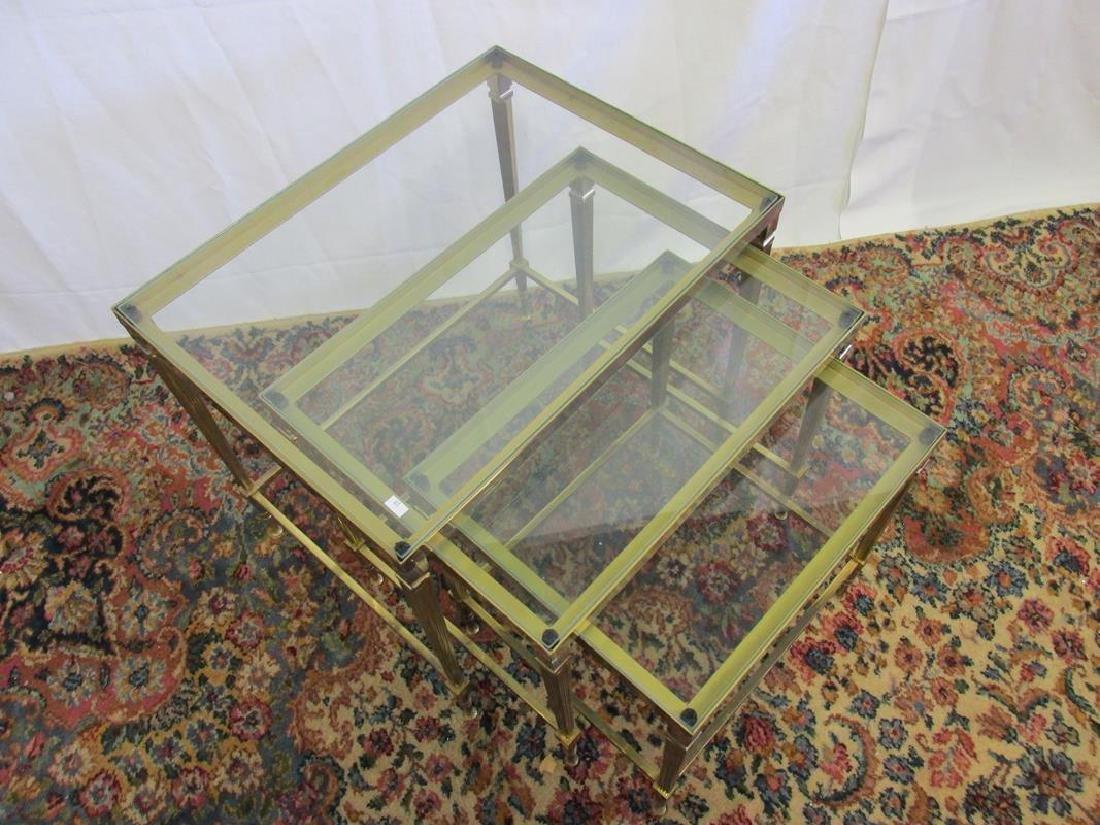 VINTAGE FRENCH SOLID BRASS NESTING TABLES - 2