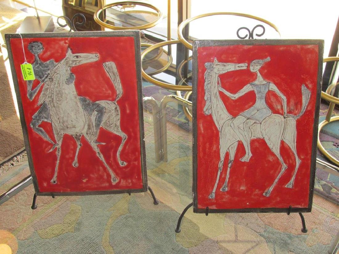 2 ITALIAN STYLIZED ART TILES, MARCELLO FANTONI