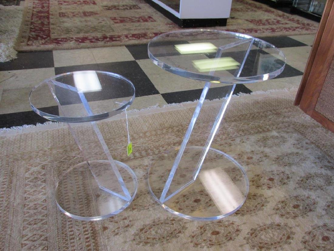 2 LUCITE SIDE TABLES