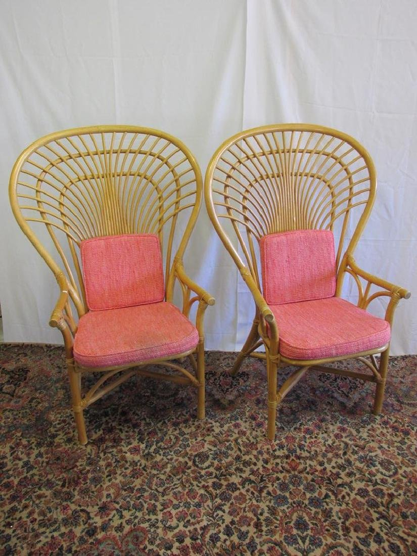 2 LARGE WINGBACK RATTAN CHAIRS