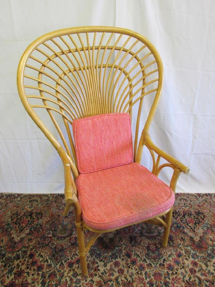 2 LARGE WINGBACK RATTAN CHAIRS - 2