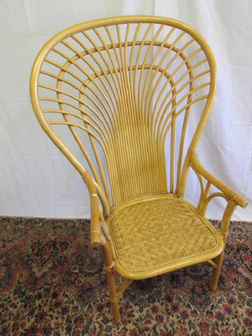 2 LARGE WINGBACK RATTAN CHAIRS - 3