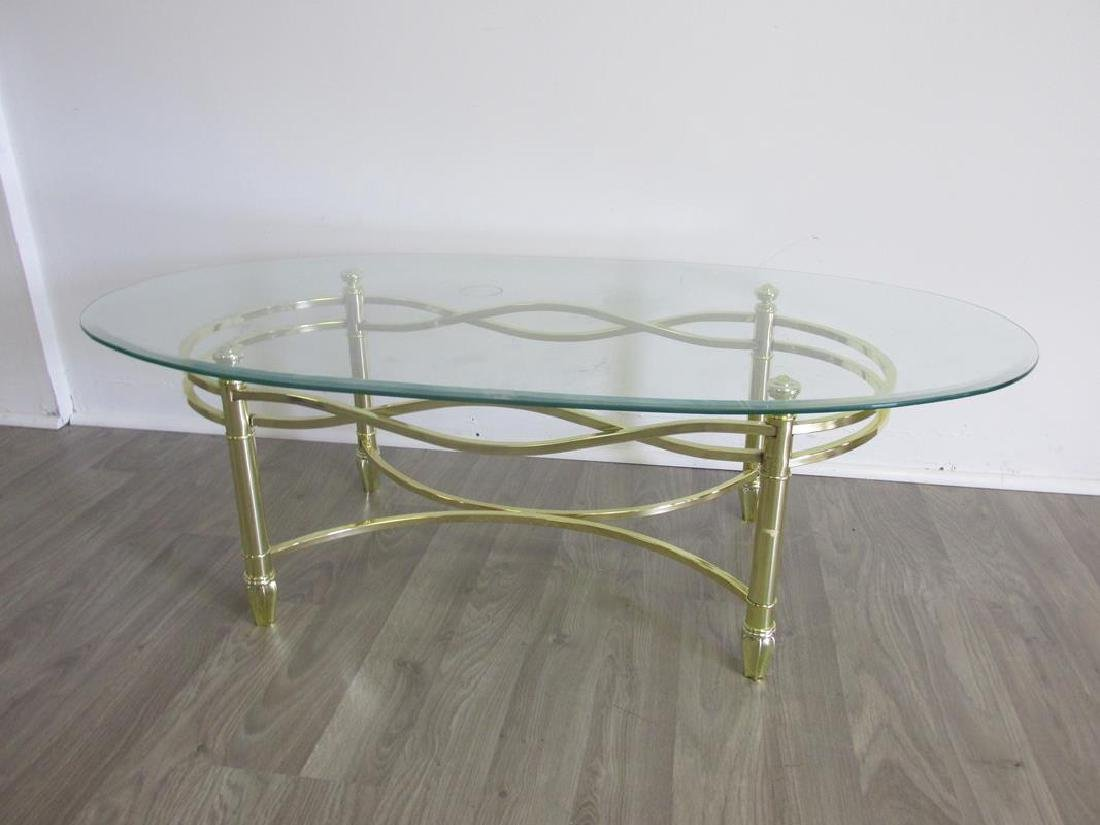 GOLD TONED METAL WITH GLASS COFFEE TABLE