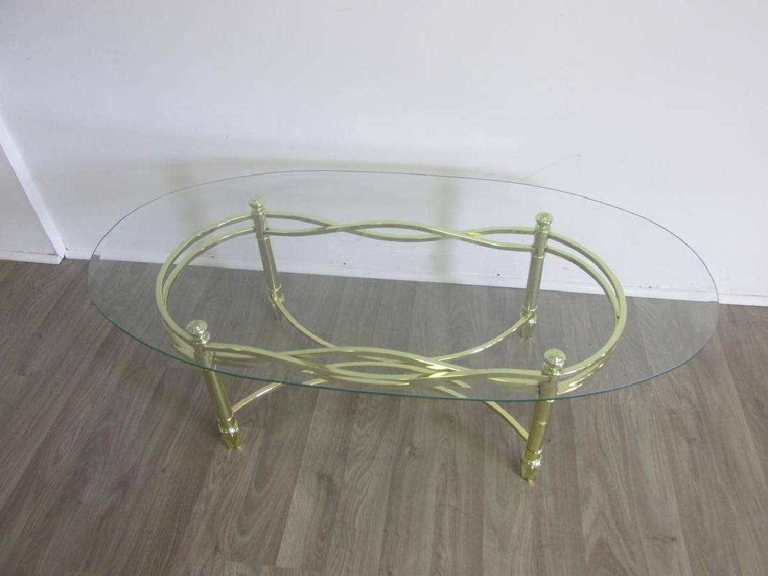 GOLD TONED METAL WITH GLASS COFFEE TABLE - 2