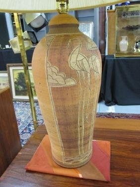 STUDIO POTTERY TABLE LAMP, SIGNED FULLMER