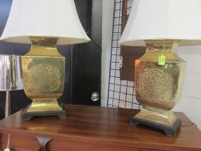 ASIAN BRASS TABLE LAMP PAIR