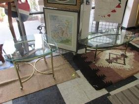 BRASS WITH GLASS TOP COFFEE/END TABLE