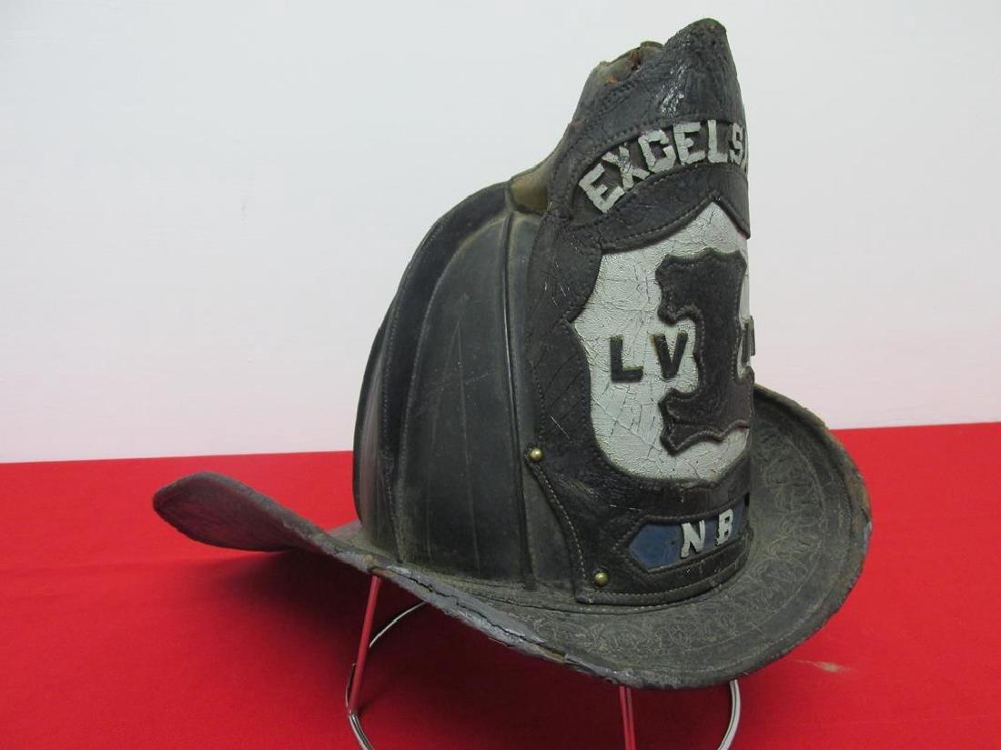 GRATACAP FIRE HELMET, LEATHER FRONTPIECE