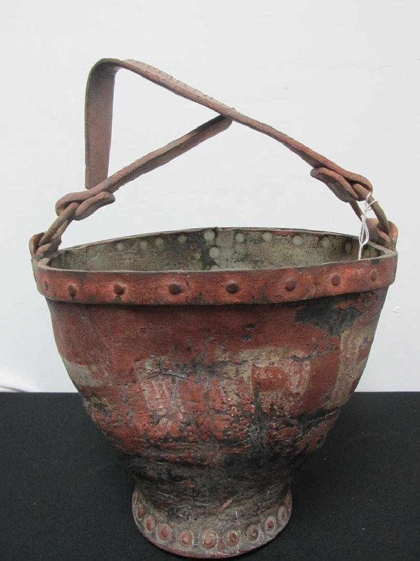 RIVETED LEATHER FIRE BUCKET WITH NICE PATINA