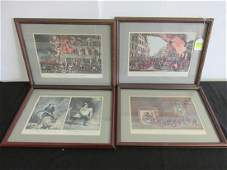 4 FRAMED LIFE OF A FIREMAN LITHO REPRODUCTIONS