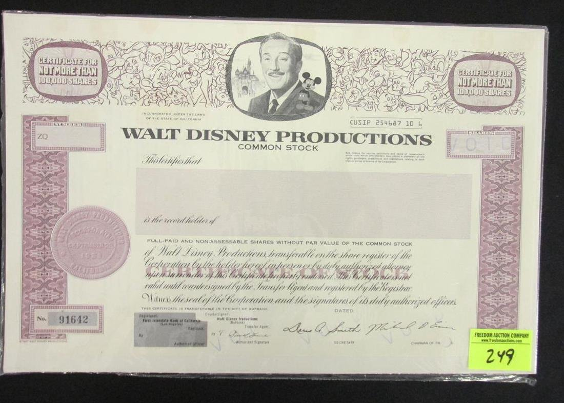 Disney production common stock certificate walt disney production common stock certificate 1betcityfo Choice Image