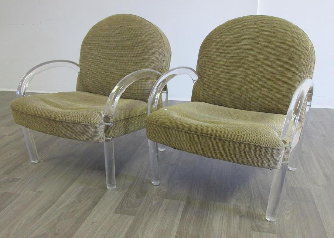 2 LUCITE LOUNGE CHAIRS - PACE COLLECTION