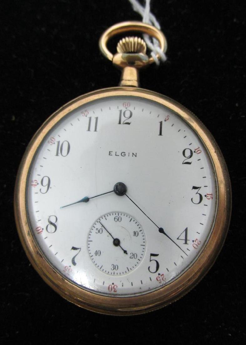 1909 ELGIN 7J GILT POCKET WATCH