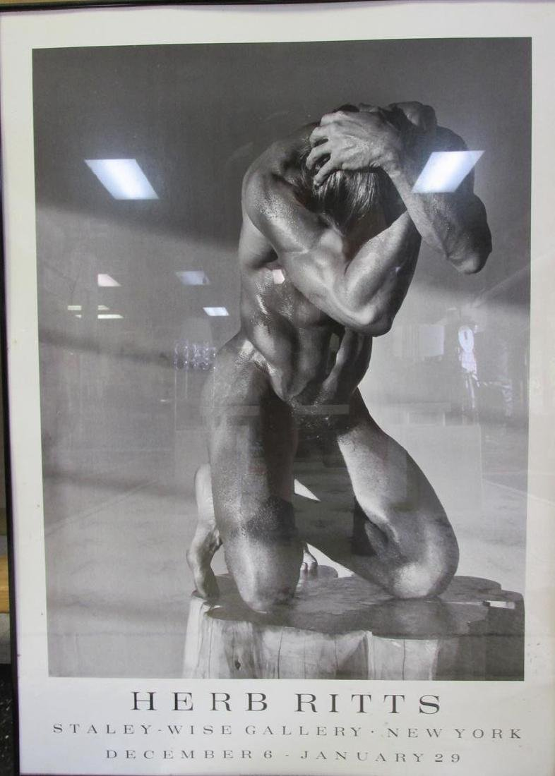 FRAMED HERB RITTS PHOTO POSTER OF NUDE MAN