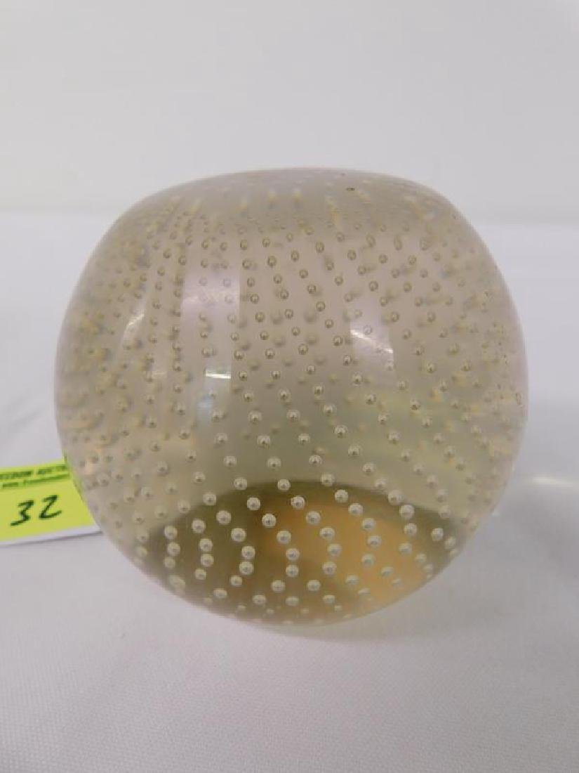 PAIRPOINT CONTROL BUBBLE ART GLASS WEIGHT