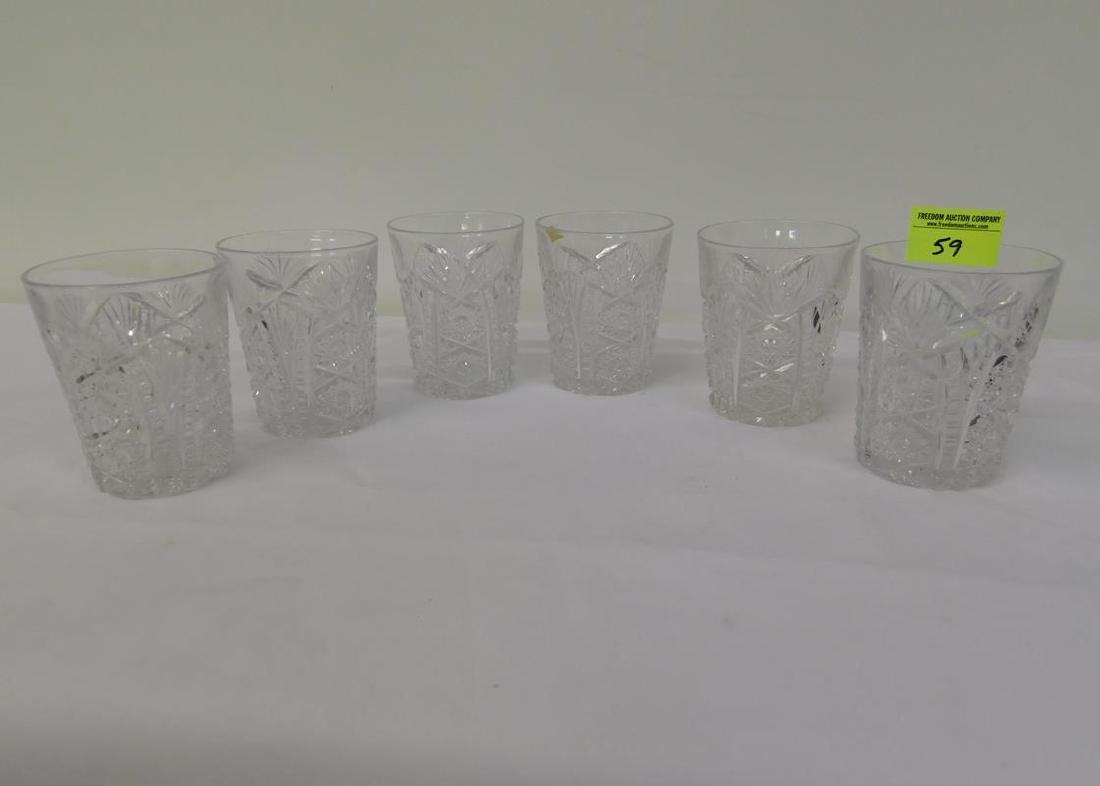 6 BRILLIANT PERIOD CUT GLASS TUMBLERS