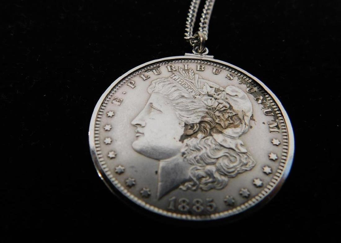 1885 MORGAN SILVER DOLLAR PENDANT NECKLACE