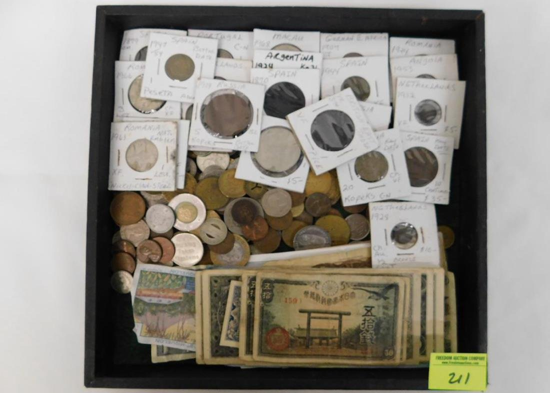 COLLECTION OF FOREIGN COINS & CURRENCY