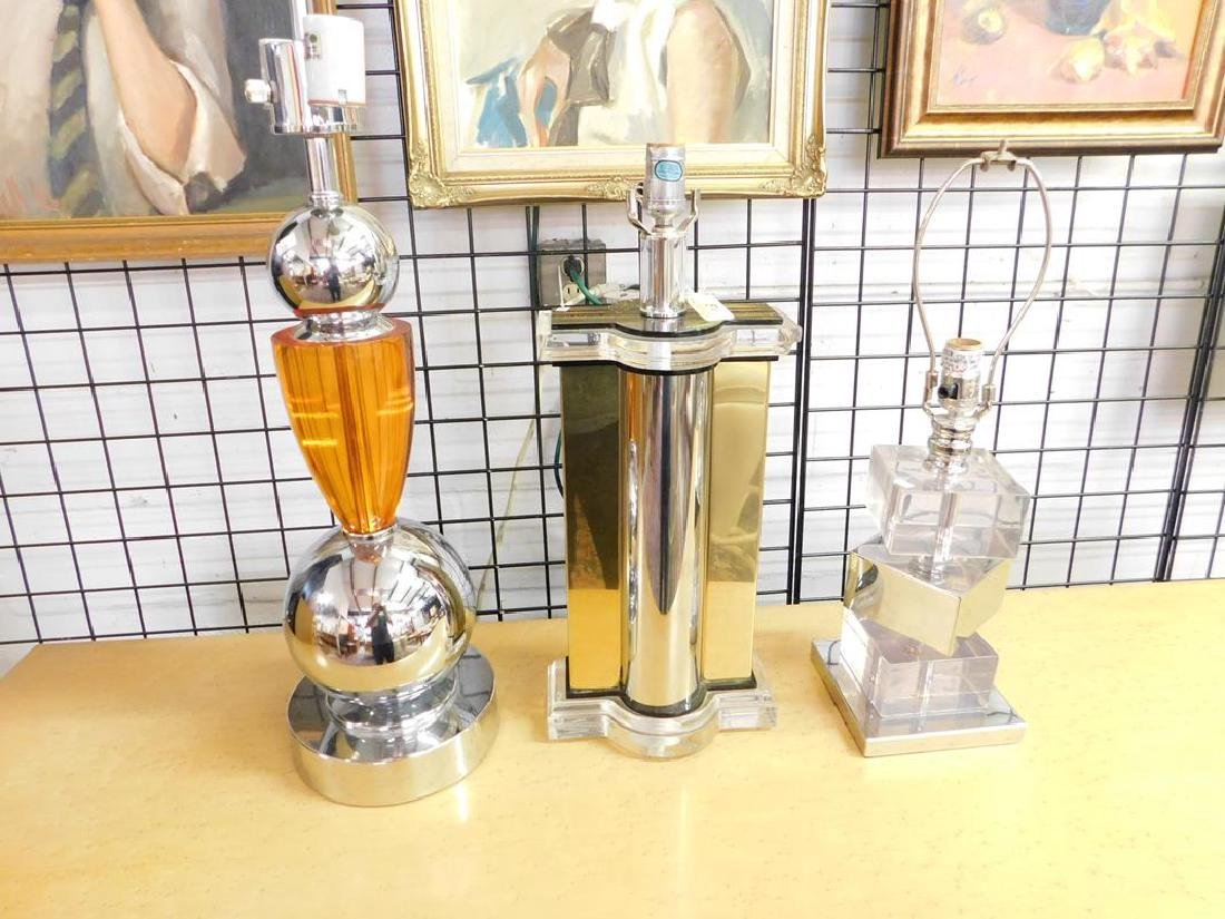3 CHROME/LUCITE LAMPS INCLUDING VAN TEAL