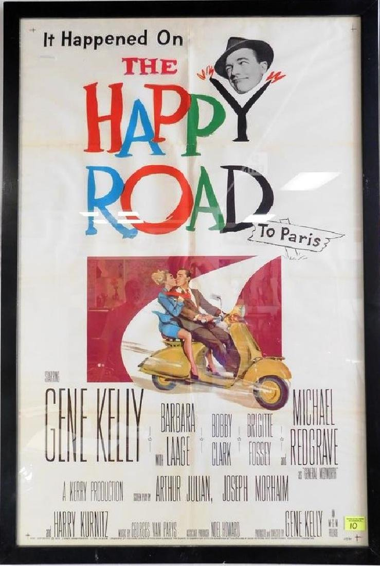 """""""THE HAPPY ROAD - TO PARIS"""" MOVIE POSTER, 1957"""