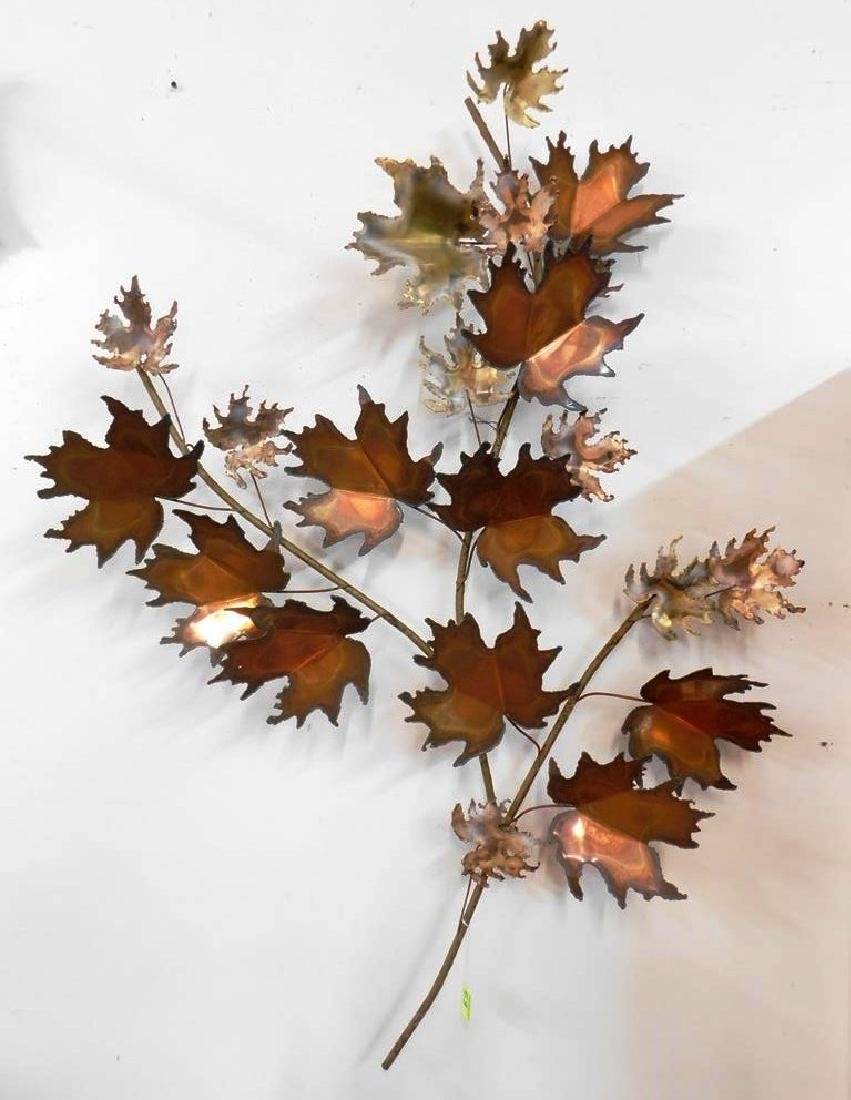 CURTIS JERE MAPLE LEAF METAL WALL SCULPTURE
