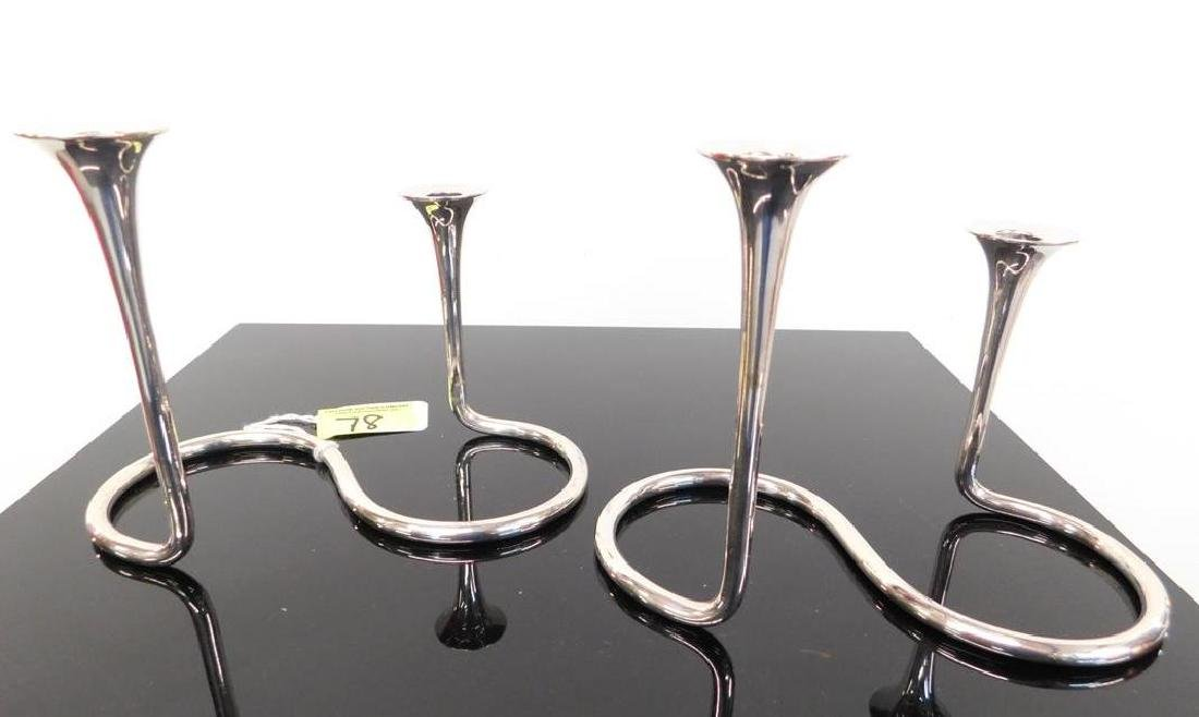 PAIR A. MICHELSEN, COPENHAGEN STERLING CANDLE STICKS