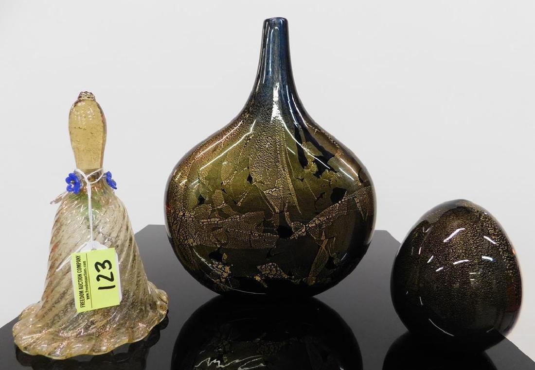3 GOLD AVENTURINE ART GLASS ITEMS