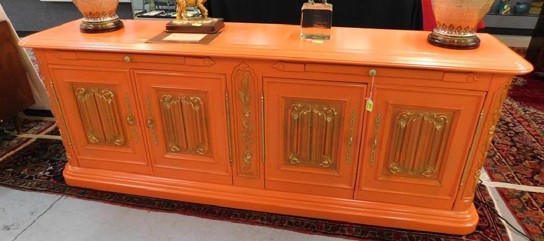 BRIGHTLY COLORED WITH GILT TRIM SIDEBOARD - CREDENZA