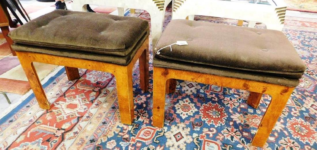 PAIR - BURLED WOOD BENCHES, OTTOMANS