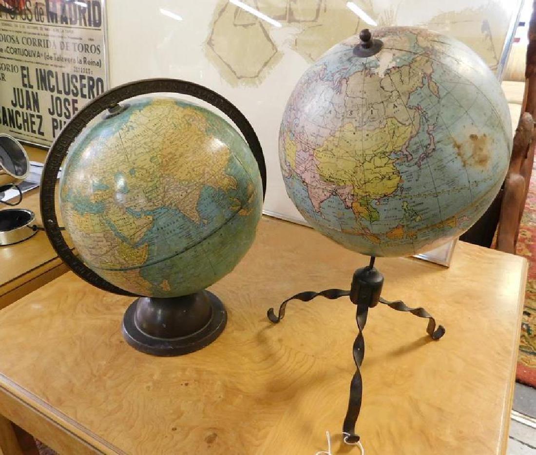 2 VINTAGE WORLD GLOBES