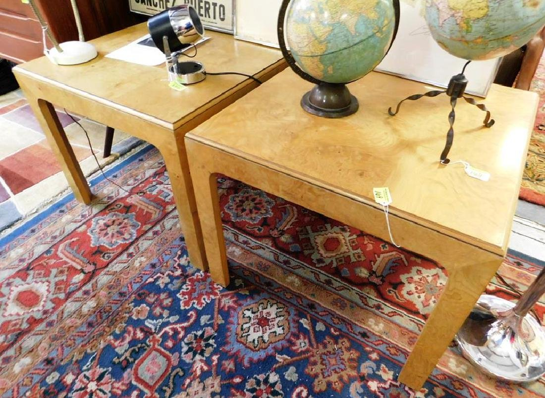 "PAIR - HENREDON ""SCENE TWO"" BURL OLIVE TABLES"