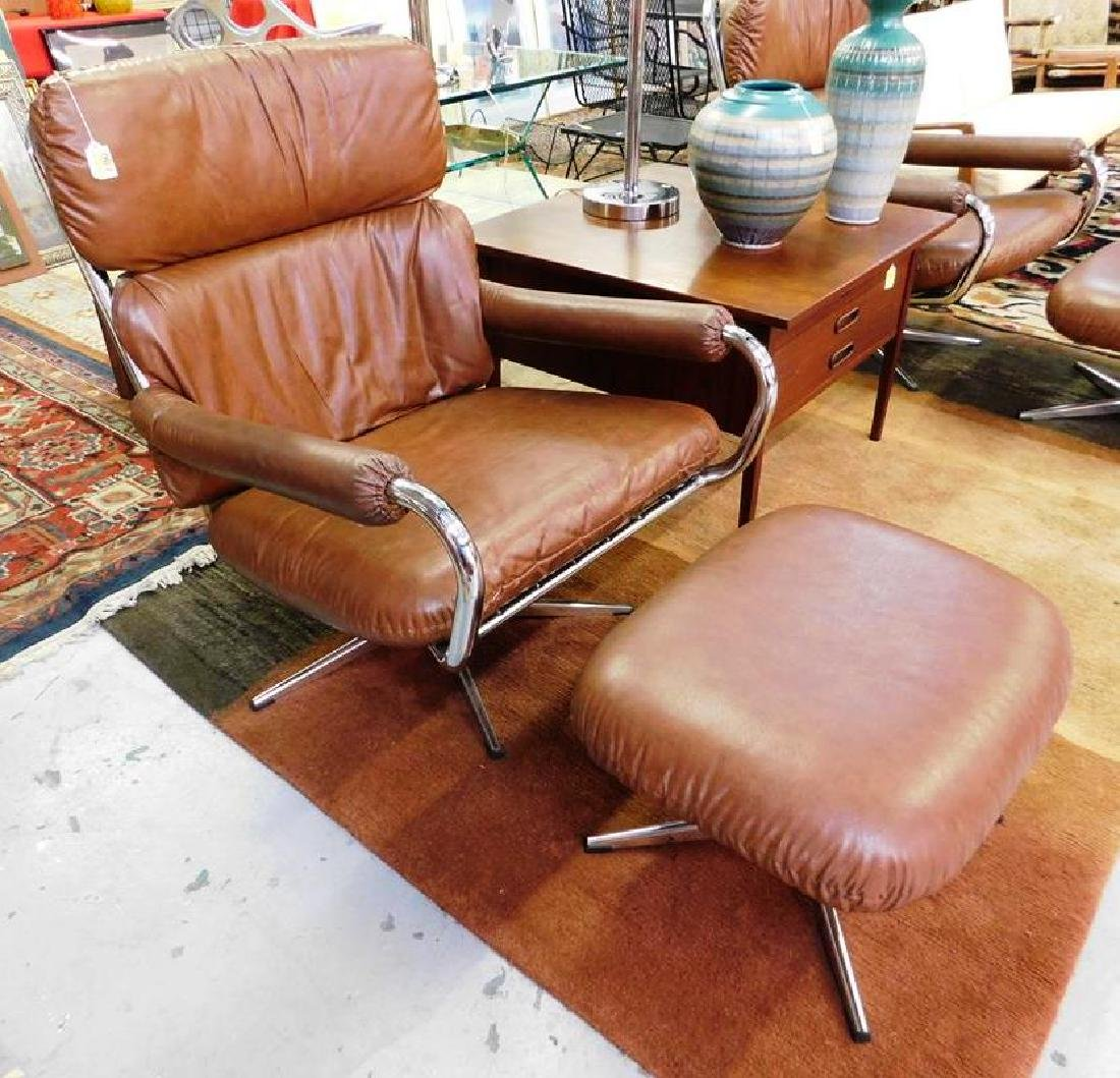 SELIG VINYL COVERED CHROME LOUNGE CHAIR WITH OTTOMAN