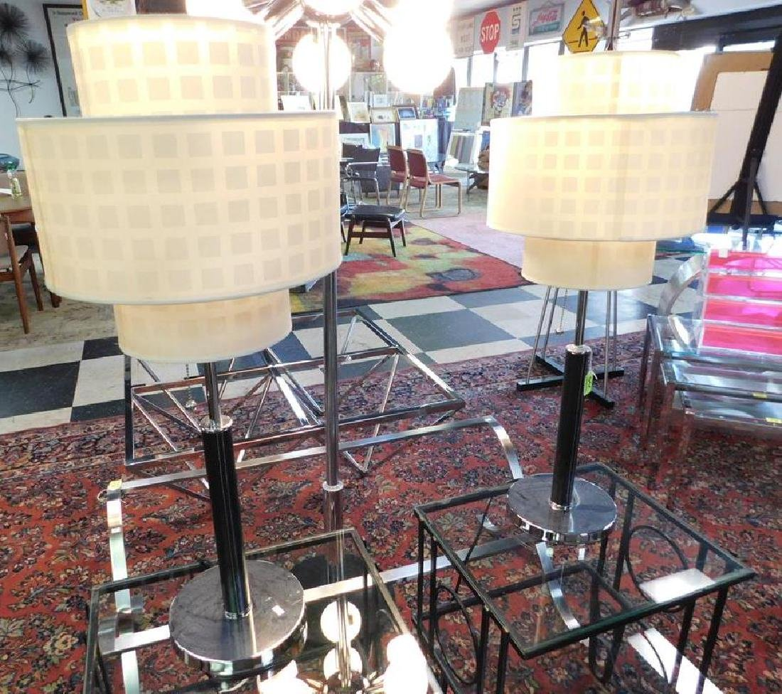 PAIR - CHROME, LEATHER WRAPPED TABLE LAMPS
