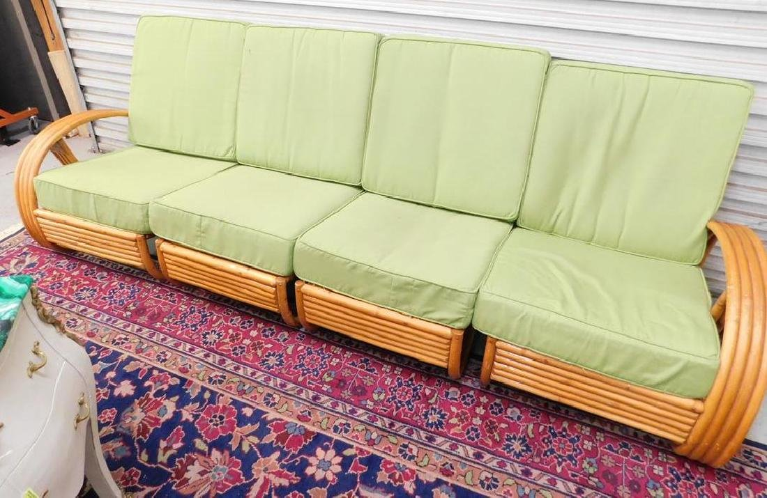 PAUL FRANKL (MANNER OF) 4 SECTION RATTAN SETTEE