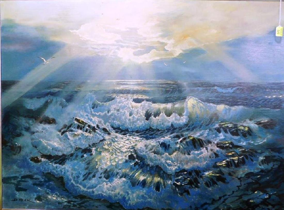 D. VACEK SEA-SCAPE PAINTING ON BOARD