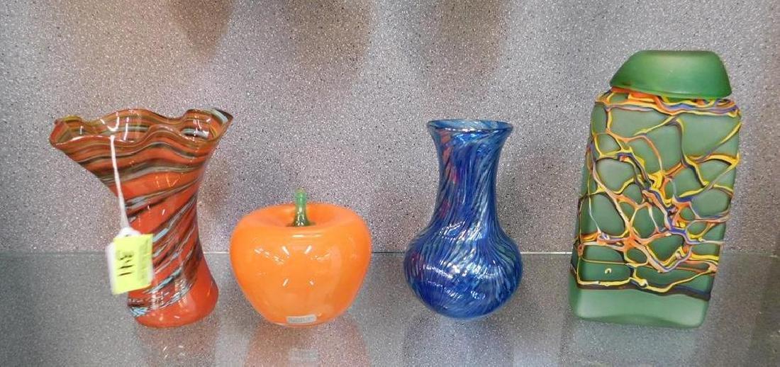 4 ART GLASS ITEMS