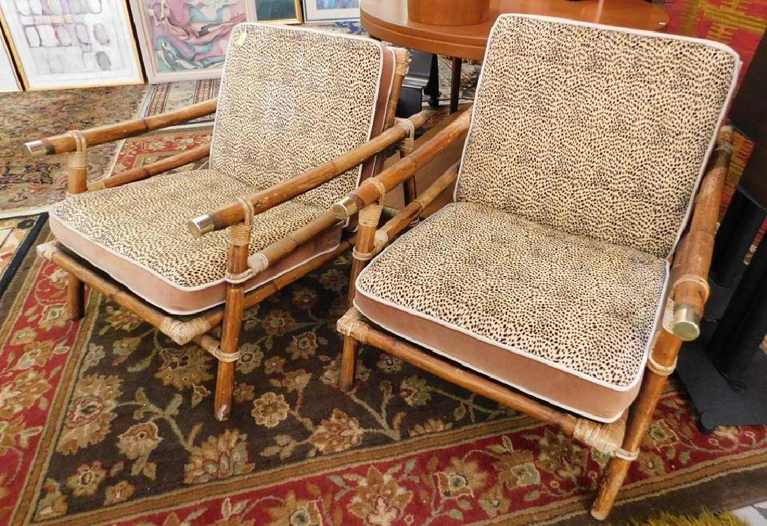 PAIR - FICKS REED RATTAN LOUNGE CHAIRS