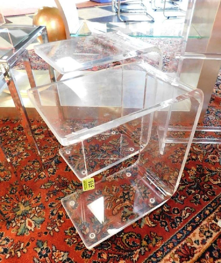 PAIR - BENT LUCITE STANDS