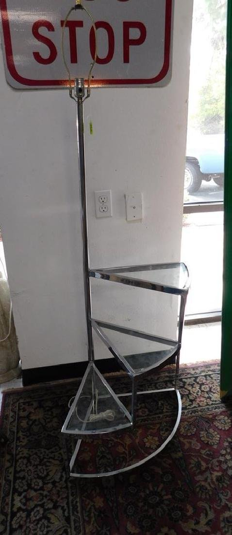 CHROME STAIR-STEP FLOOR LAMP