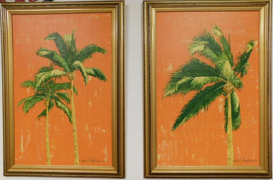 DAVID HOFFMAN ACRYLIC ON CANVAS PAINTINGS OF PALMS