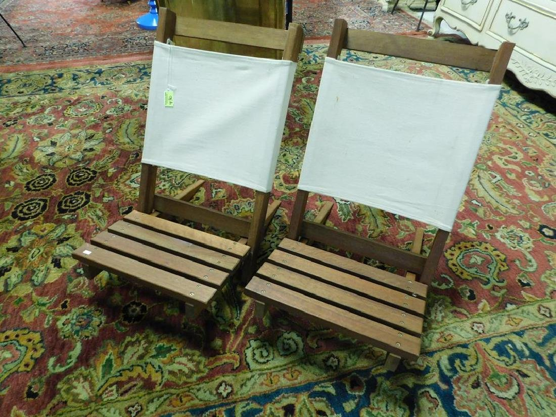 CONTEMPORARY TEAK TWO-PART PORTABLE LOUNGE CHAIRS