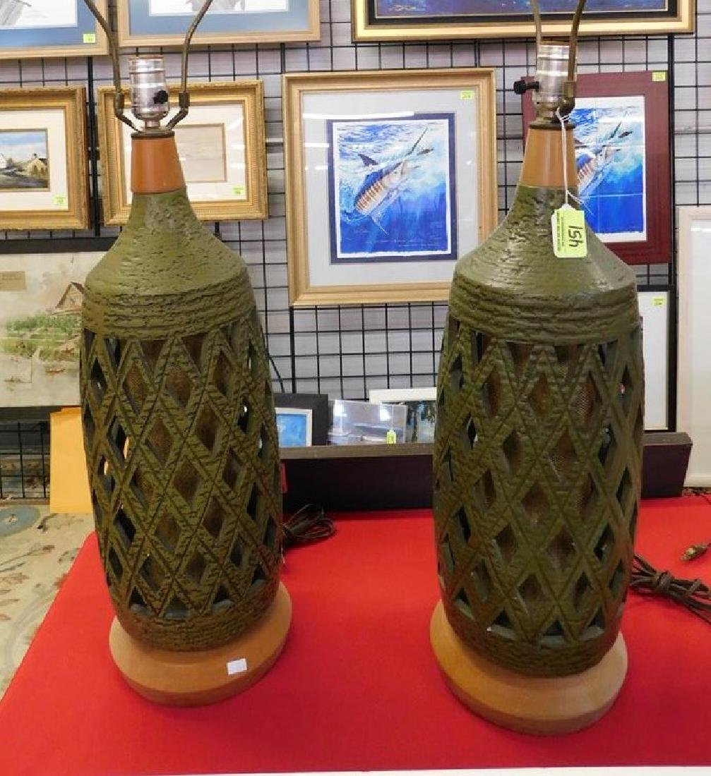 PAIR RETICULATED POTTERY TABLE LAMPS