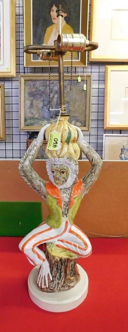 CERAMIC FIGURAL MONKEY TABLE LAMP