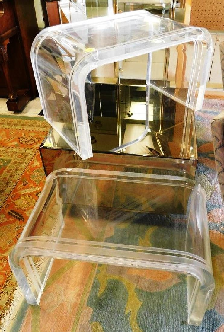 PAIR OF SUBSTANTIAL BENT LUCITE SIDE TABLES