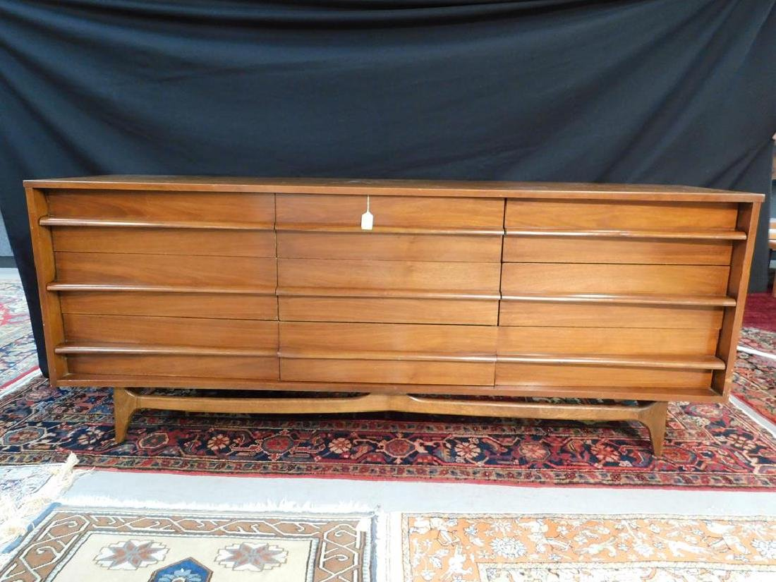 MCM NINE DRAWER TRIPLE DRESSER